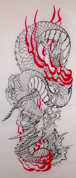 Black And Grey Japanese Dragon Paintings